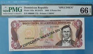 1993 Dominican Republic 5 Pesos Oro, GEM UNC PMG66 EPQ (SPECIMEN) <P-143s>