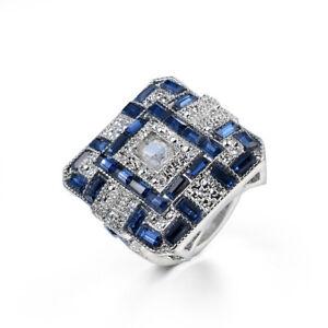 XMAS Holiday London Blue Topaz White Cubic Zirconia Silver Rings for Women Men