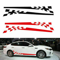 2x Auto Car Side Body Door Graphics Chequered Flag Stripes Vinyl Decals Stickers