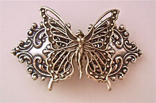 BUTTERFLY FAIRY ANTIQUED STERLING SILVER PLATED ORNATE BARRETTE ~ AMAZING!