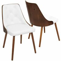 OPEN BOX Gianna Mid-Century Modern Dining/Accent Chair in Walnut with White F...