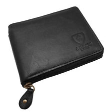 MENS DESIGNER GENUINE REAL LEATHER WALLET Zip Around WITH Coin Pocket / Pouch
