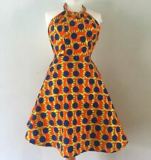 African Print Fabric Ankara Dress Orange Blue Yellow