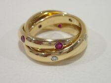 CARTIER 18k yellow gold Constellation ring with ruby, sapphire & diamond size 51