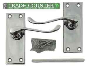 Internal Door Lever Latch Door Handles 5 Pairs Victorian Scroll Polished Chrome