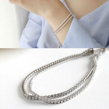Doppel-Armband echt Sterling Silber 925 Zirkonia Rhodiniert Damen Armkette