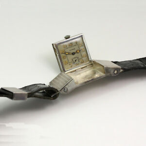 RARE 1930's Cyma Sterling Silver Golf Belt Buckle Watch w/ 40 Inch Leather Belt