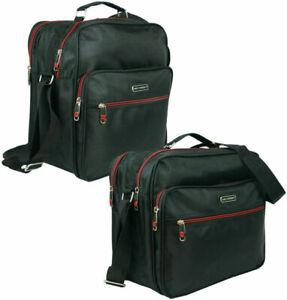 Herren Tasche Arbeitstasche Flugbegleiter Schultertasche groß viel Platz Schwarz