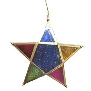Multicolour Hanging Star Decoration - Gold - Indian Handmade Hand Crafted