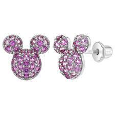 925 Sterling Silver Magenta CZ Mouse Screw Back Earrings for Girls Teens