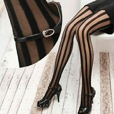 Lolita Women Girl Punk Gothic Tights Pantyhose Vertical Stripe Black Stockings