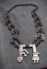 RARE YEI SQUASH BLOSSOM TURQUOISE STERLING SANDCAST KACHINA STAMPED  NECKLACE
