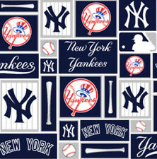 New York Yankees Squares MLB Baseball Sports Cotton Fabric Print by the Yard