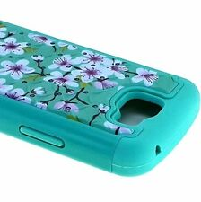 For LG Optimus Zone 3 / K4 - HYBRID DIAMOND BLING CASE COVER BLUE PINK FLOWERS