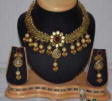 polki kundan Indian Bollywood Bridal Jewelry necklace Set antique gold plated