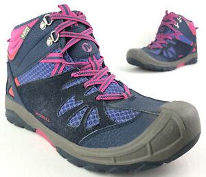 Merrell Capra Mid Waterproof Hiking Boot Women's 7 EUR 38 Blue Pink Lace Up