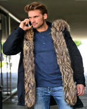 Roiii Mens Thicken Warm Jacket Winter Coat Faux Fur Hooded Parka Trench coat New