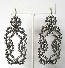 Pair of Antique 3 1/4-Inch Cut Steel Earrings With Sterling Silver Ear Wires
