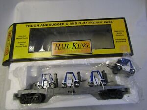 MTH 1979-136  FLAT CAR with 3 BLUE& WHITE FORKLIFTS & 4th FORKLIFT WITH DRIVER