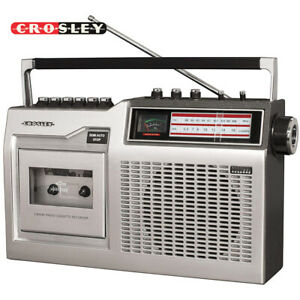 Crosley CT200B-SI Silver Old School Cassette Tape Player with Built-In Bluetooth