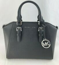 New Authentic Michael Kors Ciara Medium Saffiano Leather Messenger Bag Black