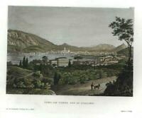 Como Italy Italia 1850 fine engraved city view beautiful hand color