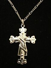 """Gold Plated Cross Religious Pendant Hip Hop Necklace With 30"""" Chain (Lot Of 2)"""