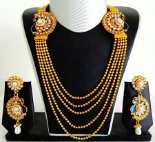 SOUTH INDIAN LONG RANI HAAR SET-ONE GRAM GOLD PLATED PEACOCK PEARL SET JWOG153