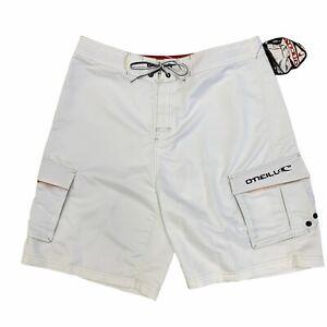 O'Neill Board Shorts Mens Size 38 White Quick Dry Nylon Lining Surfer Beach New