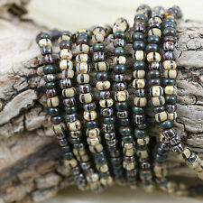 6/0 Aged Striped Wild Sunflower Seeds Picasso Mix Czech seed beads - 30g