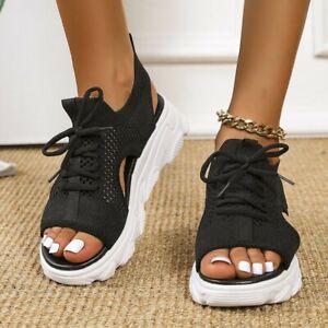 Womens Soft Summer Toe Mesh Slingback Lace Up Sandals Walking Beach Strap Beach
