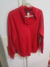 1X Nwt Jones New York red silk nylon angora top Sweater Pullover new