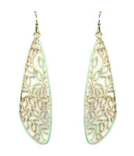 Metal Filigree Drop Mint Green Dangle Wire Earrings