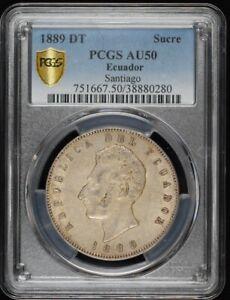 1889 DT Silver Sucre Santiago - PCGS AU50 - Ecuador