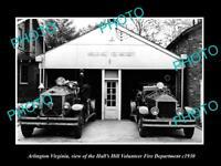 OLD LARGE HISTORIC PHOTO OF ARLINGTON VIRGINIA, HALLS HILL FIRE ENGINES c1930 1