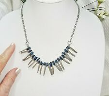 Vintage Silver Plate Shard Spikes and Navy Blue Nuggets Bib Choker Necklace