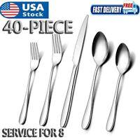 40 Piece Silverware Flatware Cutlery Set Stainless Steel Utensils Service For 8