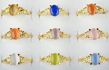 Wholesale Lots 10pcs Mixed Color Women Faux Gem Stone Gold Plated Rings FREE
