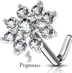 NEW - Large Silver Starburst Flower Prong Set Cz Crystal Nose L Bend  Bar