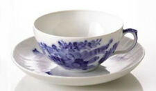 VERY LARGE Royal Copenhagen Blue Flower Curved Breakfast Cup & Saucer DENMARK