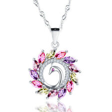 925 Silver Rose Gold Charm Rainbow Topaz Peacock Design Pendant Necklace Women