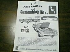 """AMT """"1960 Buick Convertible """" Original 3in1 Model Car Instruction sheet from1960"""