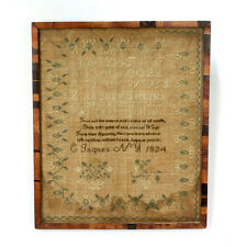 Antique New York 1824 Schoolgirl Sampler American Embroidery - Vr