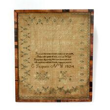 Antique New York 1824 Schoolgirl Sampler American Embroidery - VR