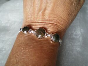 Andamooka Opal bracelet, 10 carats, 9.42 grams of 925 Sterling Silver, 7 to 8 in