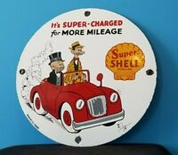 VINTAGE SUPER SHELL GASOLINE PORCELAIN GAS SERVICE STATION MUTT & JEFF PUMP SIGN