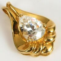 VINTAGE 14K YELLOW GOLD FINE FASHION FLASHY CZ PEAR SHAPE PENDANT FOR NECKLACE !