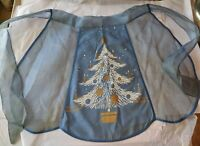 Vintage Christmas Half Apron blue atomic Christmas tree print philley Mfg