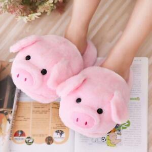 Women Winter Cute Pink Pig Animal Cartoon Plush Slippers Non-Slip Furry Shoes