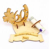 Geldgeschenk, Geburtstags Zahl 60, Hufeisen mit Kleeblatt Personalisiert Holz